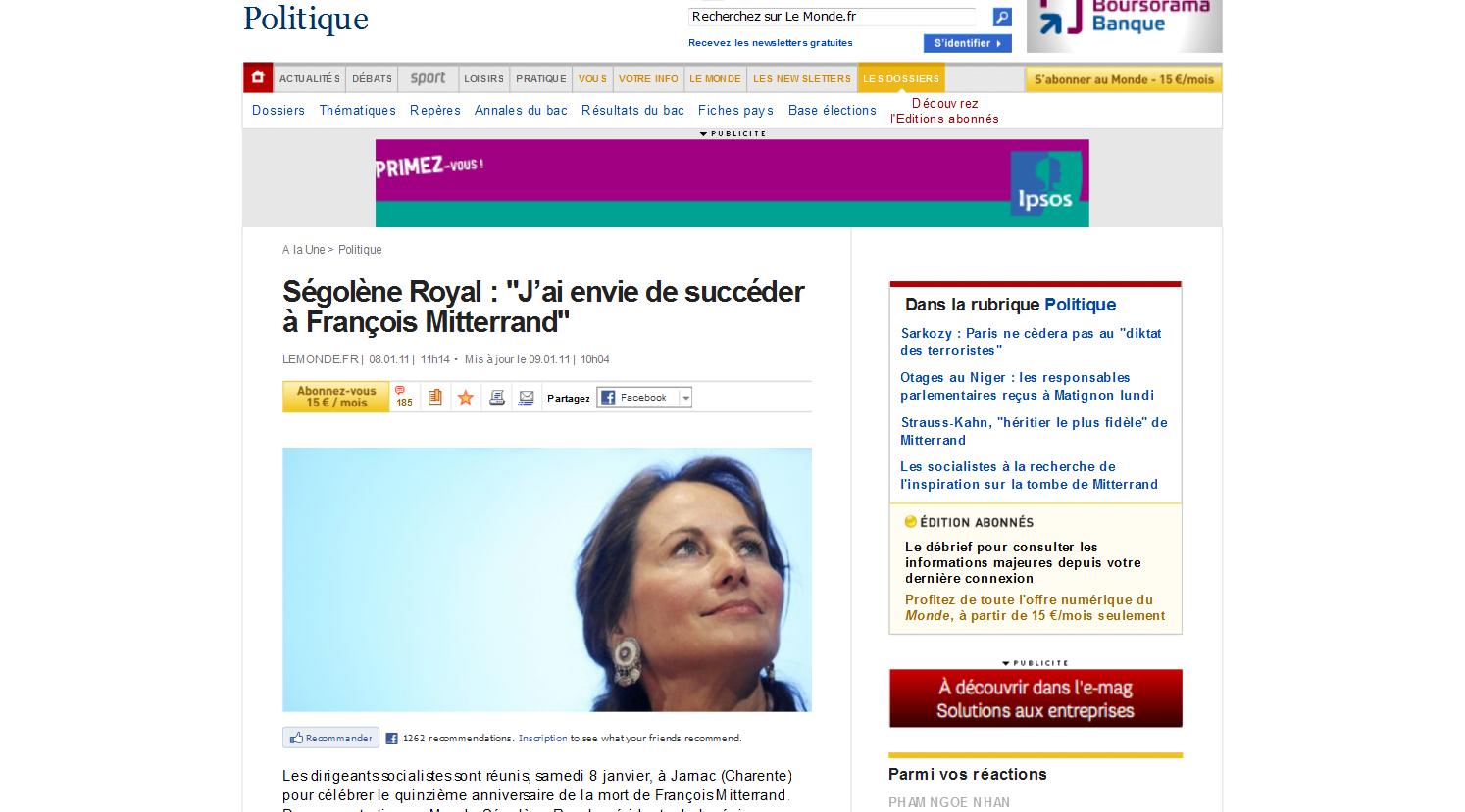 Ségolène Royal J'ai envie de succéder à François Mitterrand LeMonde.fr 1294614337801 Elections 2012: Ségolène Royal veut rétablir la promesse républicaine