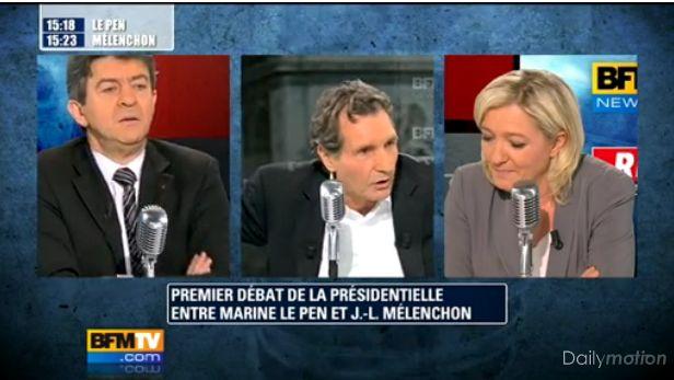 melenchon vs lepen marine Le Pen Melenchon : Premier débat électoral dans la course aux Elections 2012